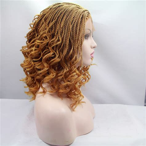 lace front african mirco braided wigs free shipping curly braided synthetic lace front wigs
