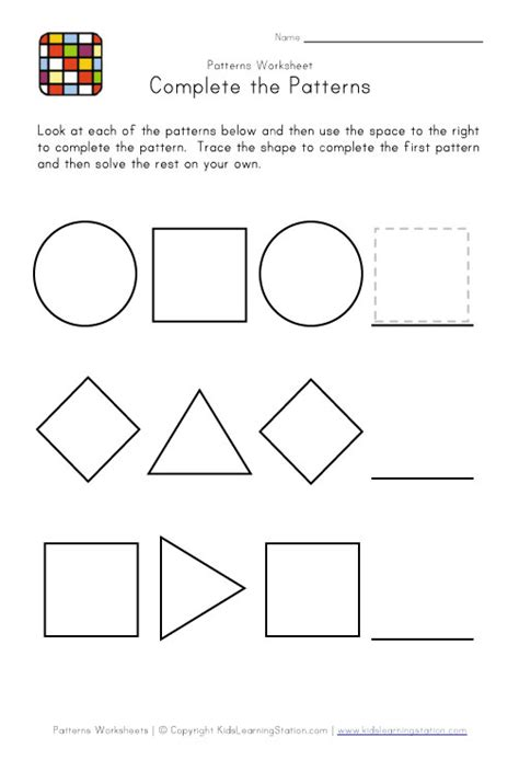 pattern recognition math worksheets kindergarten pattern worksheets math math patterns