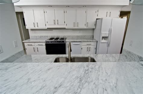 white carrara marble modern kitchen countertops dc