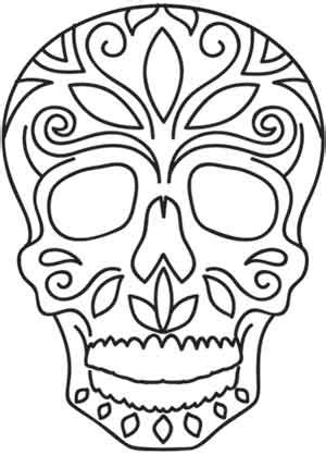 Day Of The Dead Calavera Outline by Dia De Los Muertos Skull Threads Unique And Awesome Embroidery Designs