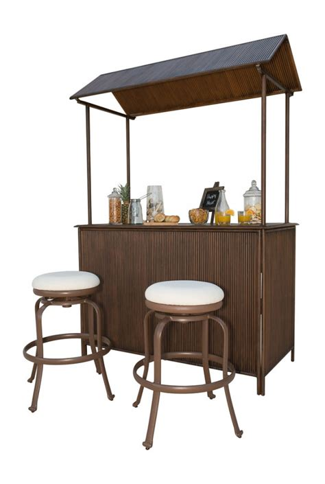 Tiki Bar Set Tiki Bar 3 Pc Backless Barstool Set