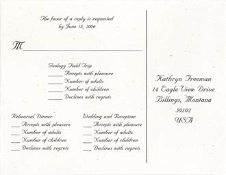 wedding response wording reply cards exles of wedding invitation wording for response cards seed paper ordering options