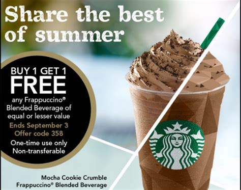 Restaurant Gift Cards Buy One Get One Free - starbucks buy 1 get 1 free any frappuccino blended beverage