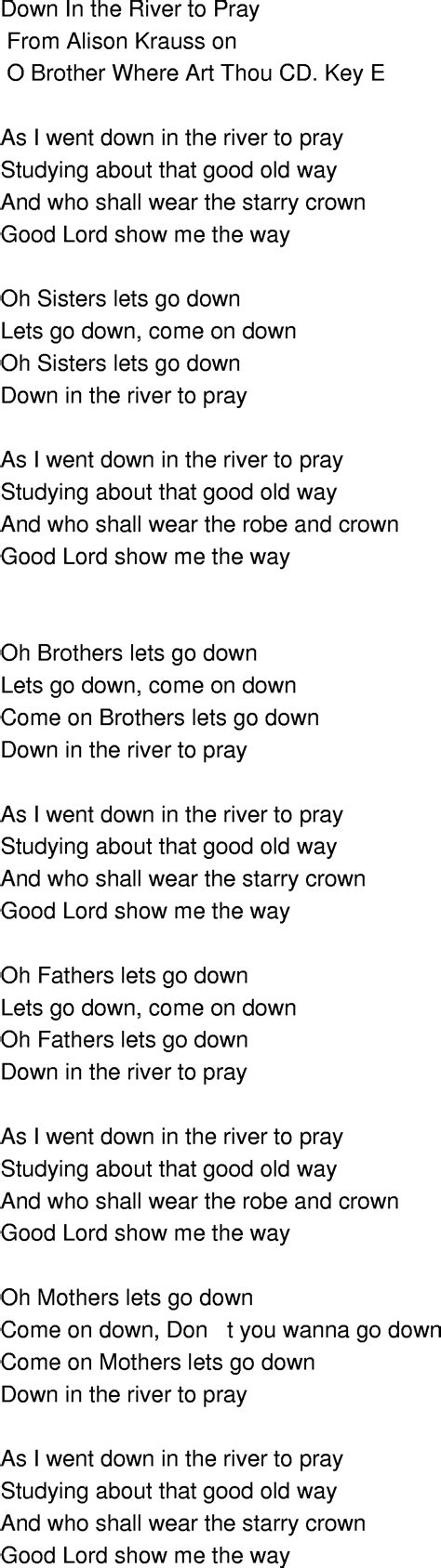 by this river testo time song lyrics in the river to pray