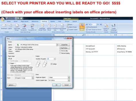 printing address labels outlook creating mailing labels from outlook contacts