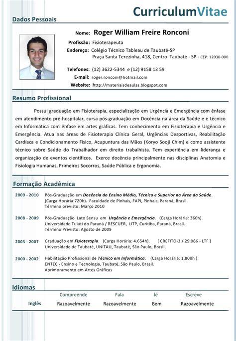 Modelo Curriculum Vitae Fisioterapia Curriculum Vitae Fisioterapia Curriculum Vitae