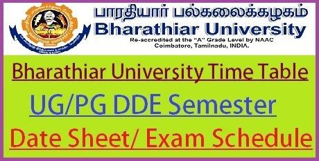 bharathiar university time table  ug revised  exam schedule