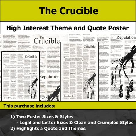 themes of the crucible and quotes visual theme quote posters