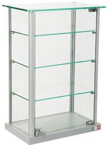 glass countertop display locking hinged doors