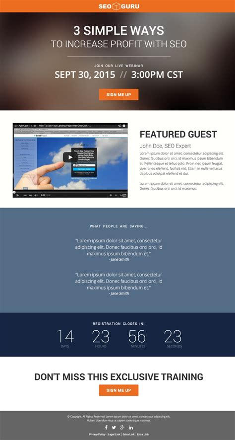 The Past Month S Best New Leadpages Marketplace Landing Page Templates Leadpages Webinar Template