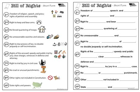 printable version bill of rights bill of rights worksheets for kids worksheets for all