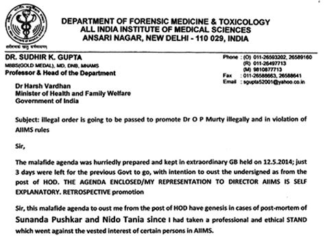 How To Write Post Mortem Reports by Sunanda Pushkar S Autopsy Was Manipulated Says Dr Sudhir
