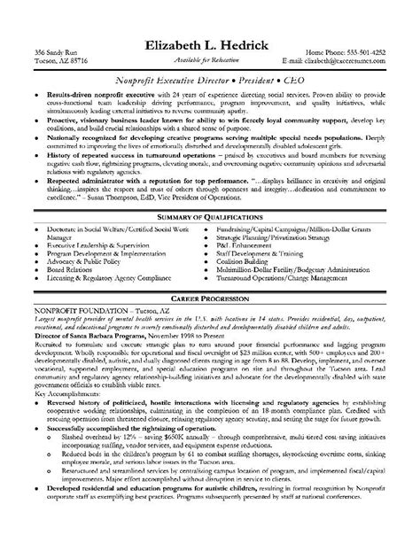 executive resume format exles sle resume for executive position free sles
