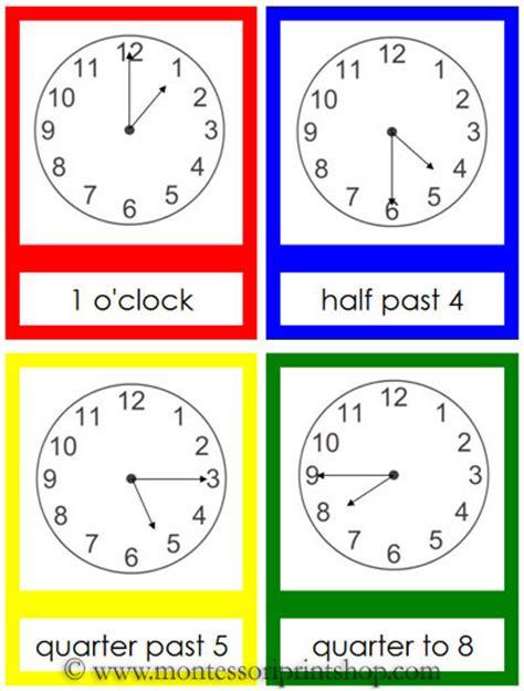 montessori clock printable clock cards printable montessori math materials