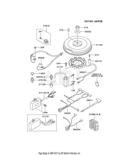 kawasaki fdv cs  stroke engine fdv parts diagram  electric equipment