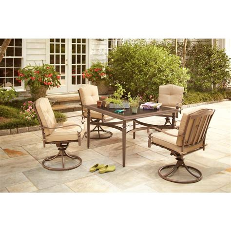 Patio Dining Sets For 4 Hton Bay Eastham 5 Patio Dining Set With Beige Cushions 723 002 004 The Home Depot
