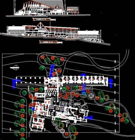 tourist complex section  dwg design plan  autocad