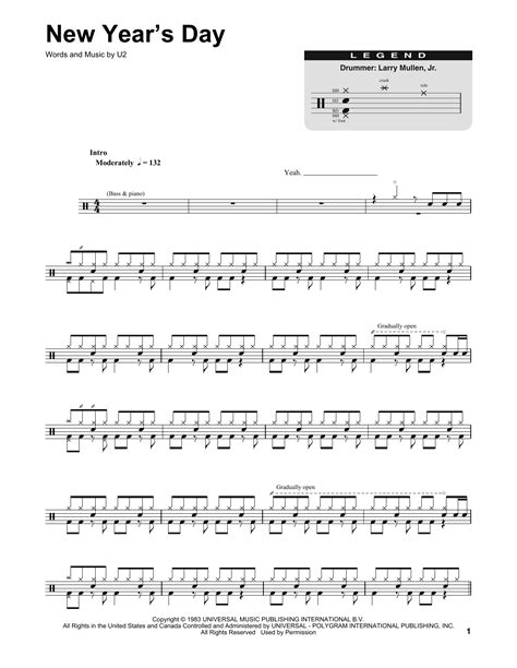 new years day chords new year s day sheet by u2 drums transcription 174565