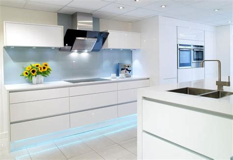 White Gloss Kitchen Designs Gallery Linear Handleless Range Rowat Gray