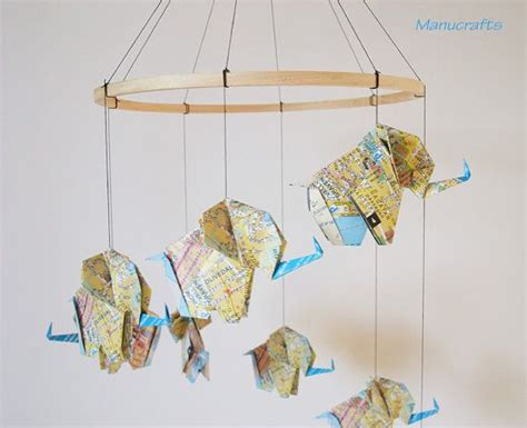 Origami Baby Mobile - origami elephant mobile from map paper elephant mobile