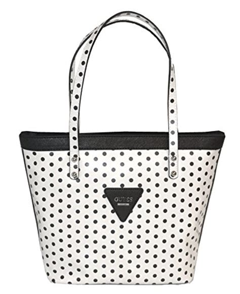 Tas Guess Polkadot guess zoom tote bag handbag purse polka dot white accessorising brand name designer
