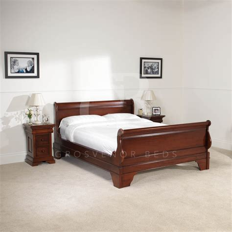 Mahogany Sleigh Bed New 4ft 6 Solid Mahogany Sleigh Bed High Foot Board Egb13 Ebay