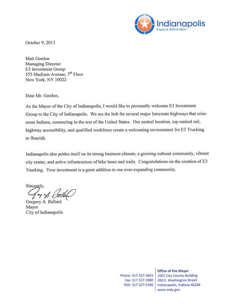 indianapolis welcome letter e3 investment