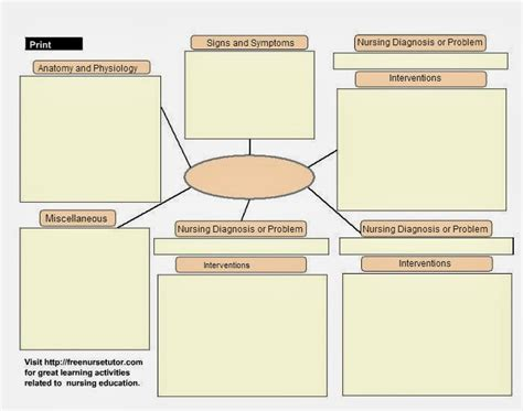 free concept map template search results for blank concept map for nursing students