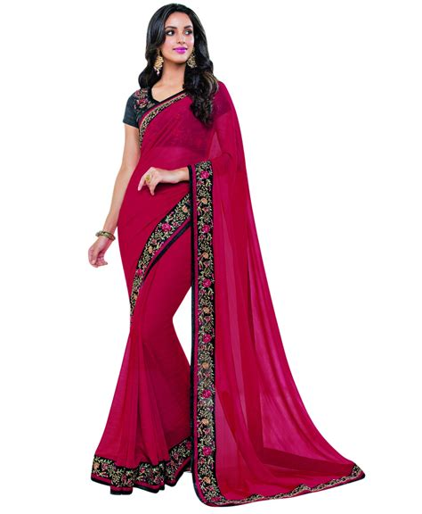 Blouse Bordir 1 pink georgette plain saree with embroidered border