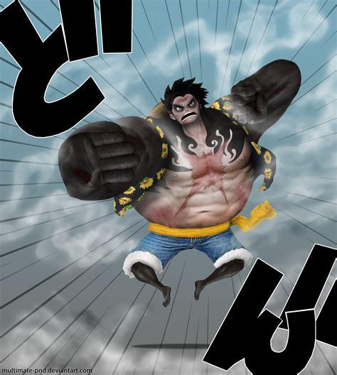 Kaos Anime Monkeydluffy Gear 4 One luffy gear 4th by multimate pnd on deviantart