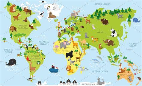Animal World 7 Tshirtkaosraglananak Oceanseven animals world map illustrations creative market
