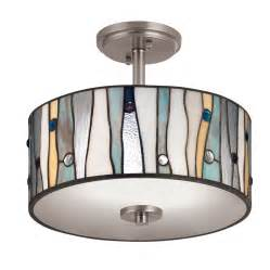 Kitchen Lighting Flush Mount Shop Portfolio 13 In W Brushed Nickel Clear Glass Style Semi Flush Mount Light At Lowes