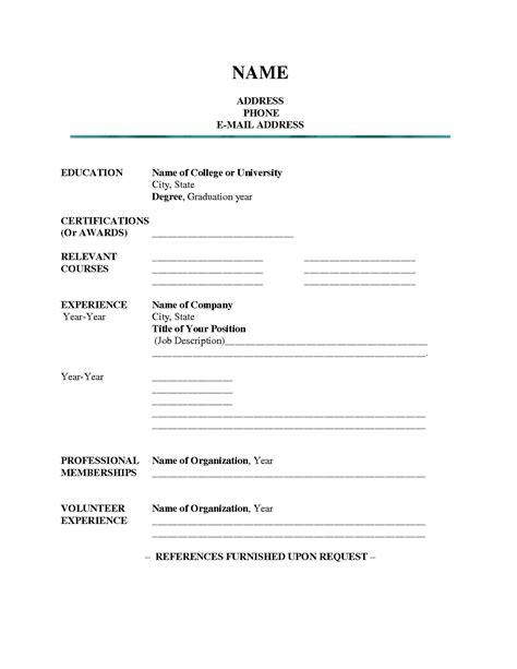 Blank Resume Template   e commercewordpress