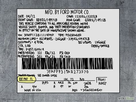 ford vin plate colour code