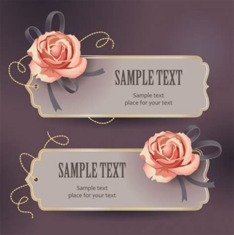 la rosa realty cards templates vector de plantilla de texto de la tarjeta rosa vintage