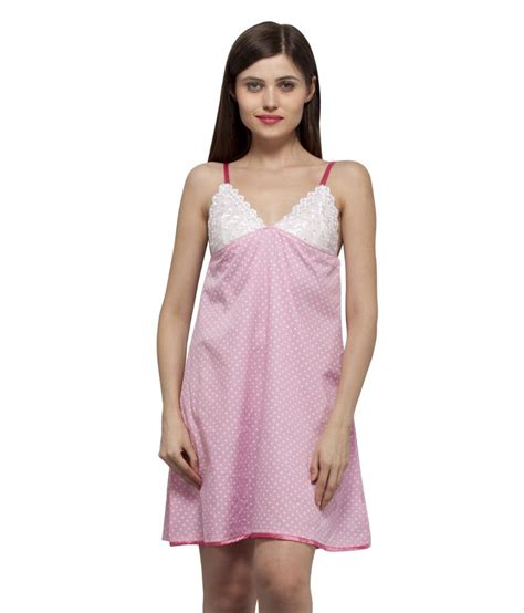 Cmb Vneck Dot Pink buy vedvid pink v neck pink polka dots cotton sleeveless nighty at best prices in
