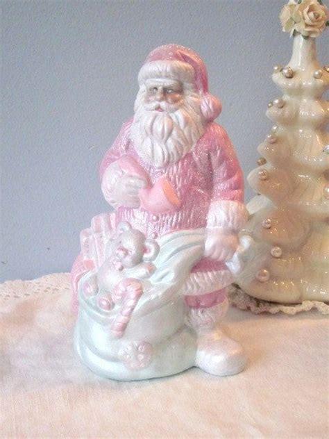 shabby chic santa white rose pink aqua glittered ecs sct