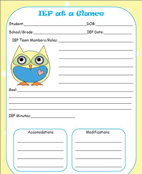 the talking owls iep at a glance freebie