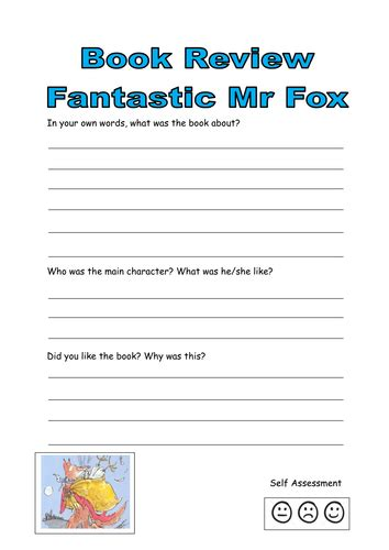 Book Review Mr By Dowler by Fantastic Mr Fox Worksheets Resultinfos