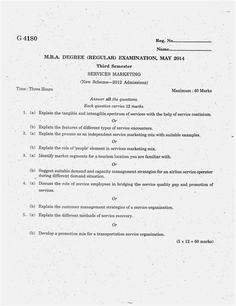 Mba 2014 Question Paper by Marian Library Mg Mba Third Semester Question