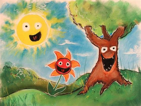 painting for kids paintings nature sun trees happy funny paint