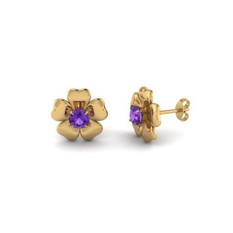 flower design ear studs flower stud nature inspired earring in 14k yellow gold