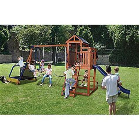 jump and swing set sportspower woodland jump n swing ii swing set for the