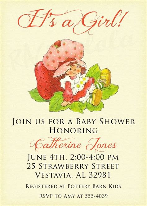Strawberry Shortcake Baby Shower Invitations by Vintage Strawberry Shortcake Birthday Invitation Or By