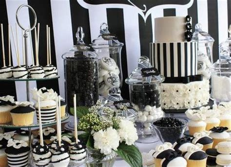 Juventus Tie Green Stripe black and white chic dessert table by is sweet