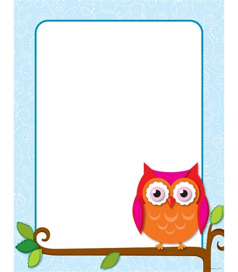 printable owl border paper image gallery owl border