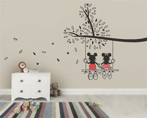 mickey mouse bedroom stickers mickey mouse minnie tree swing wall sticker wall art decal