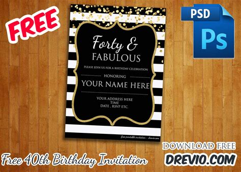 Forty Fabulous 40th Birthday Invitation Template Psd Editable Free Invitation Free Guard Invitation Template