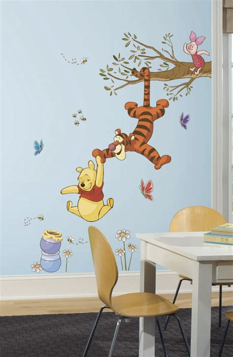 classic winnie the pooh wall stickers winnie the pooh swinging for honey wall decals