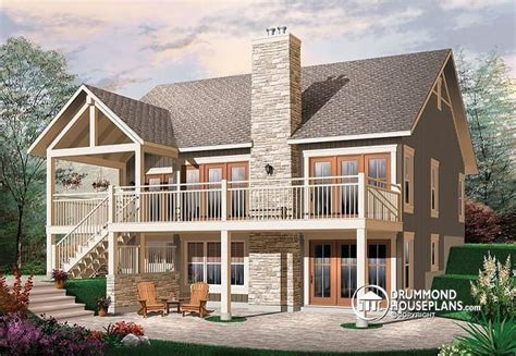 walkout basement home plans w3941 transitionl style cottage house plan cathedral